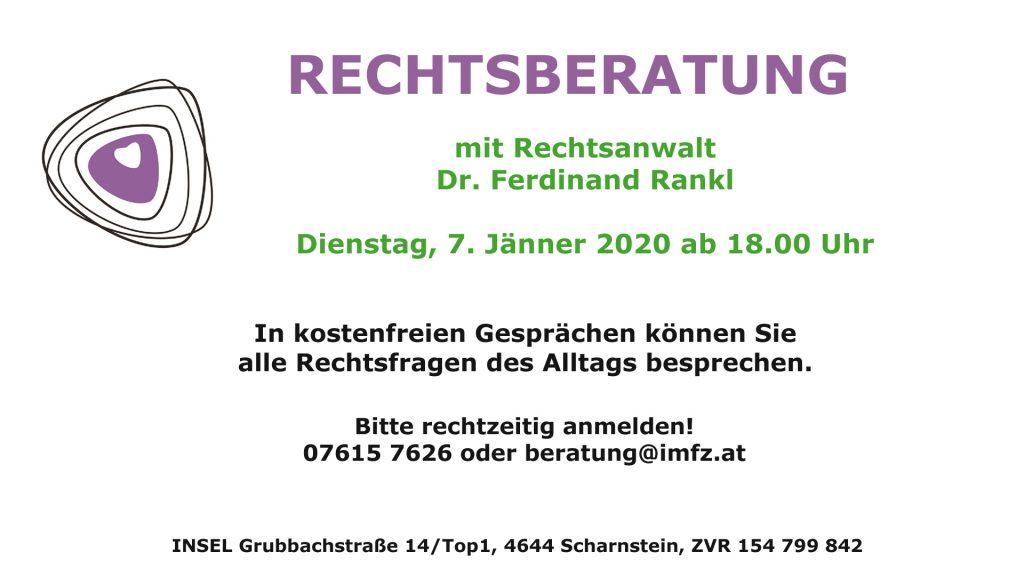 Rechtsberatung Dr. Rankl am 7. Jänner 2020 ab 18.00 Uhr